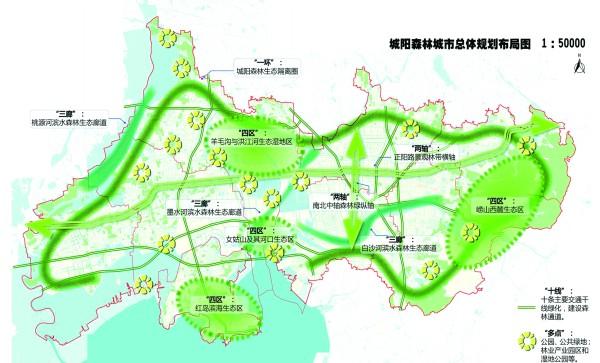 青岛城阳森林城市总体规划布局图。(图由青岛市林业局提供)